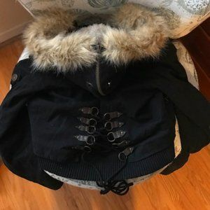 Guess Black Corset Back Detail Coat - Size Large NWT